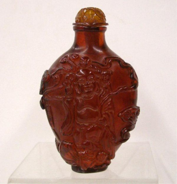 Oriental Carved Amber Snuff Bottle