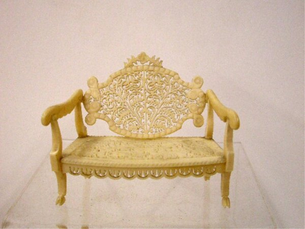 Ivory Carved Floral Settee