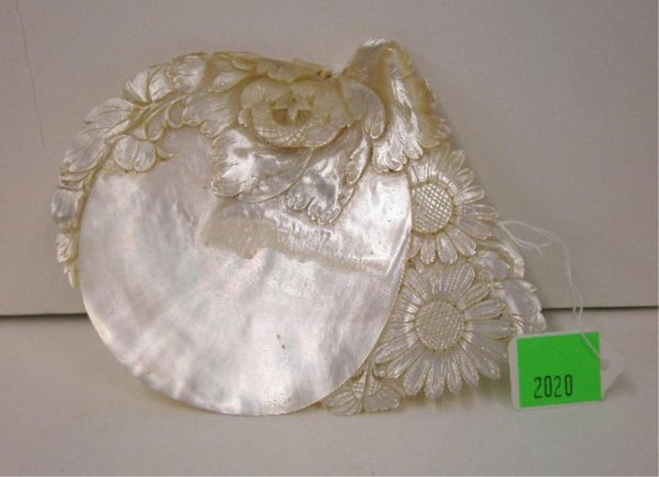 MOP Carved Floral Shell Dish