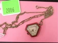 Swiss Art Deco Silver  Enamel Lapel Watch