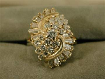 Lady's Gold & Diamond Cocktail Ring
