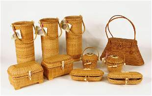 Collection of Nantucket Wicker Baskets and Bags