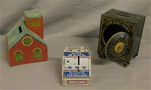 3 Vintage Tin Litho Banks