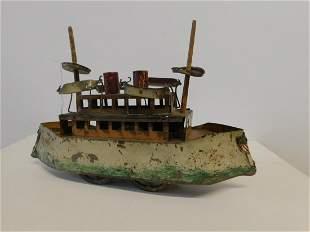 Early 20th C. Tin Litho Ship
