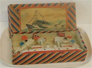 Vintage Japan Wood Boats In Original Box