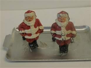 2 Vintage Lead Santa Figures