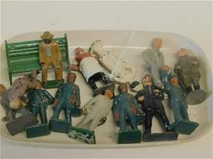 14 Vintage Iron & Lead Toy Figures