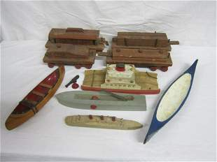 Vintage Wood Train Set & Other Wood Toy Pieces