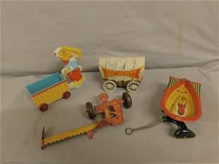 4 Vintage Tin Litho Toys
