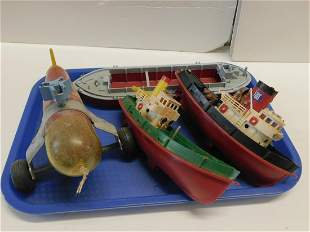 Plastic Clockwork Boats and Helicopter