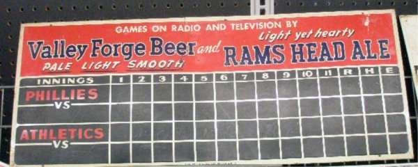 1108: 1940's Valley Forge Beer Scoreboard Sign