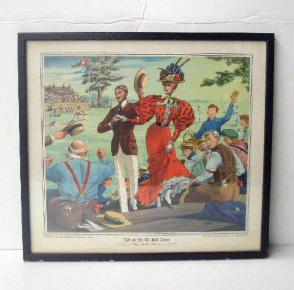"1110: 1947 ""Out at the Old Ball Game"" Color Print"