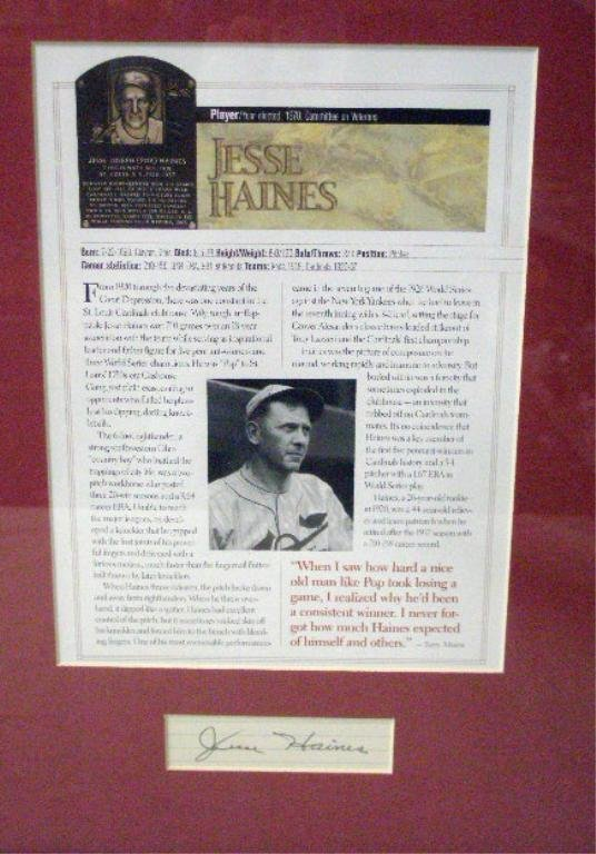 1120: Jesse Haines Cut Signature framed display
