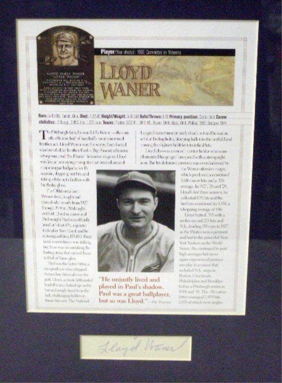1123: Lloyd Waner Cut Signature Framed Display