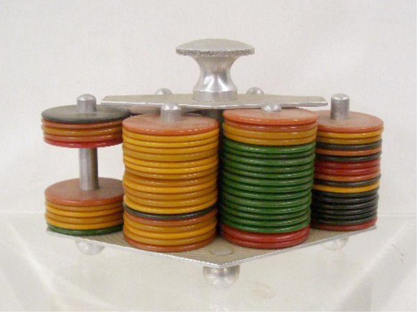 2019: Art Deco Poker Chip Holder w/Bakelite Chips