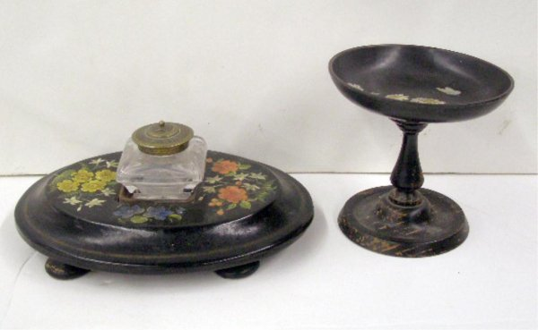 2020: Victorian Lacquer & Wood Inkwell & Compote