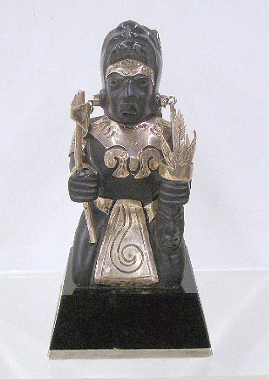 2023: Mexican Silver & Onyx Aztec Figure