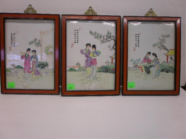 1003: 3 Framed Oriental Figural Scene Plaques