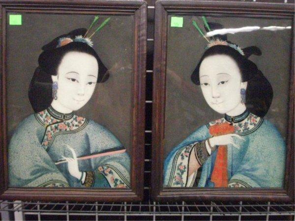 1004: Pr Framed Reverse Painting on Glass