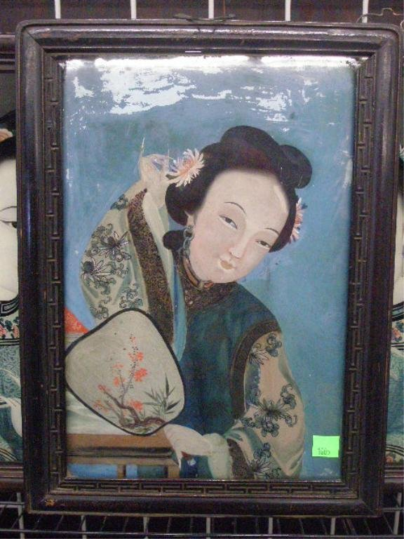 1005: Framed Reverse Painting on Glass