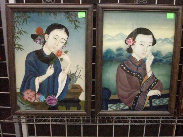 1006: Pr Framed Reverse Painting on Glass