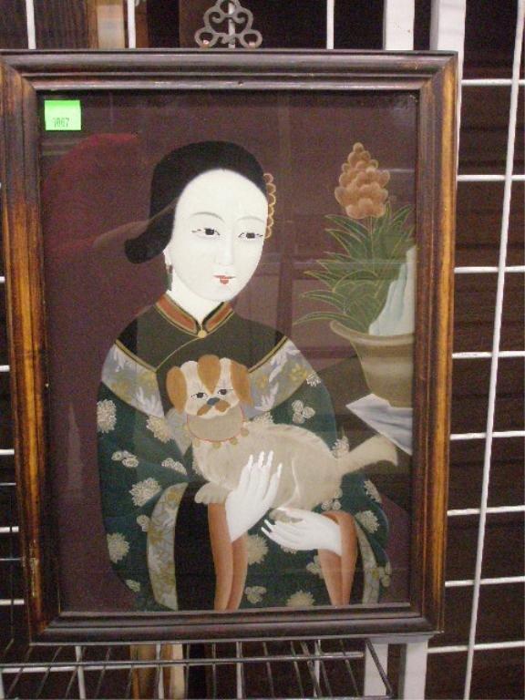 1007: Framed Reverse Painting on Glass