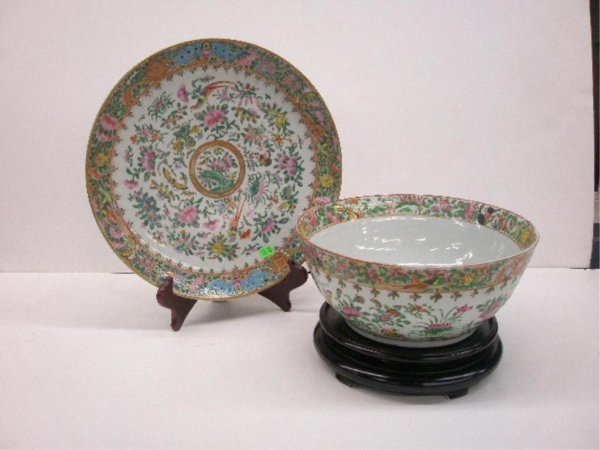 1010: Chinese Porcelain Punch Bowl & Charger