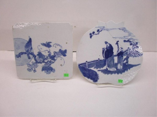 1012: Two Chinese Blue & White Porcelain Tiles