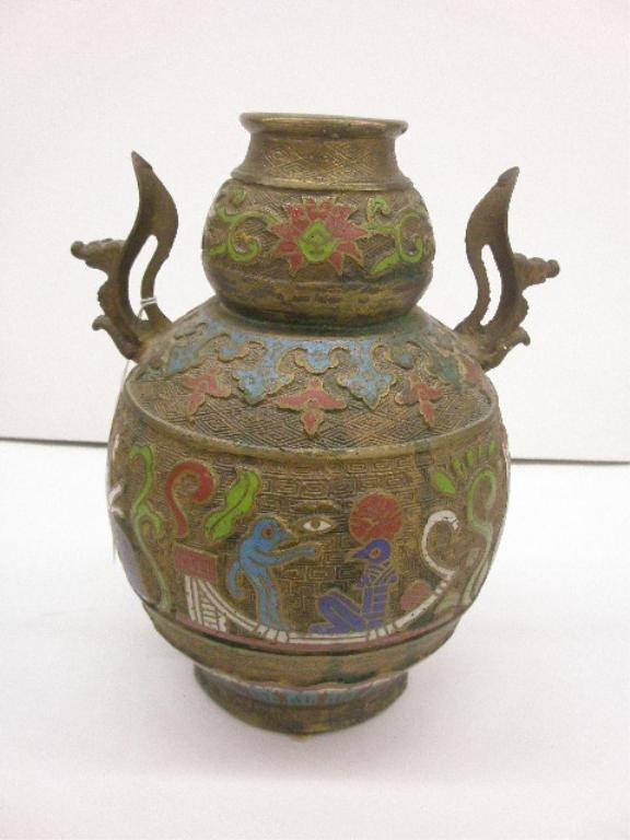 1018: Bronze & Champleve Vase