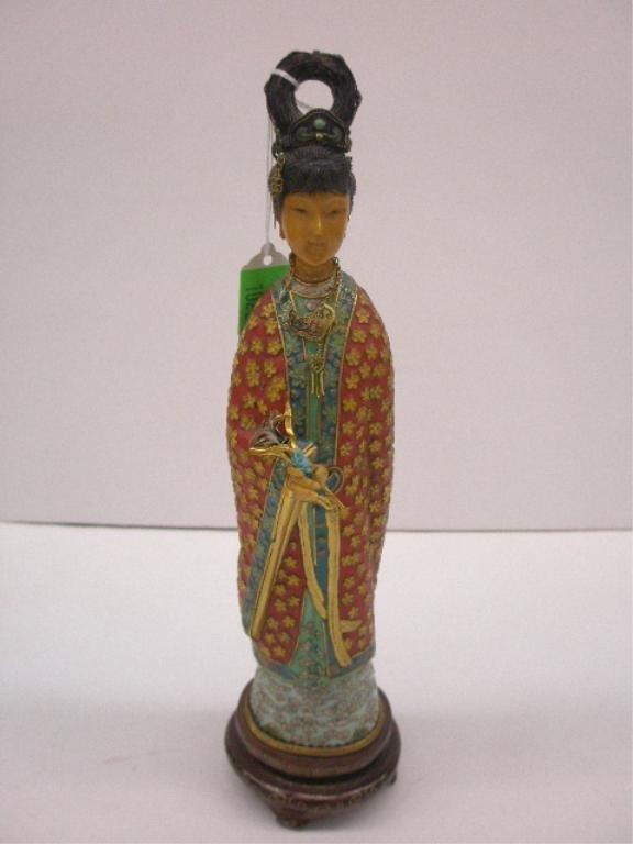 1022: Oriental Cloisonne Geisha Figure