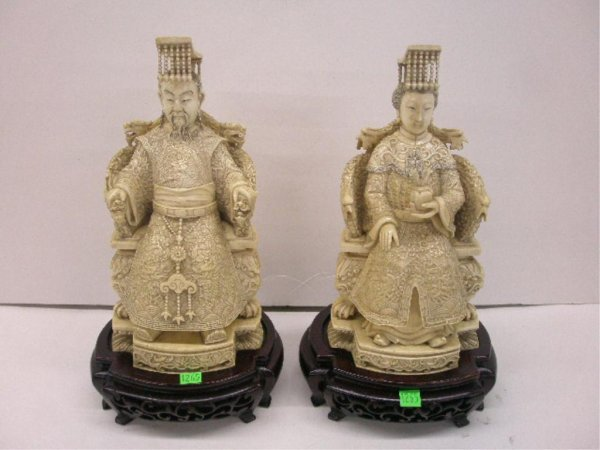 1265: Pr Chinese Carved Ivory Figures
