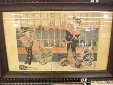 1310 Sadahide Signed Japanese Woodblock Print