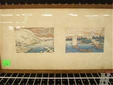 1319 Hiroshige Signed 2 Japanese Woodblock Prints