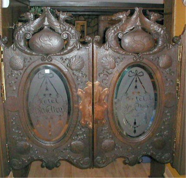 1384: Philadelphia 19th c. Carved Oak Saloon Doors