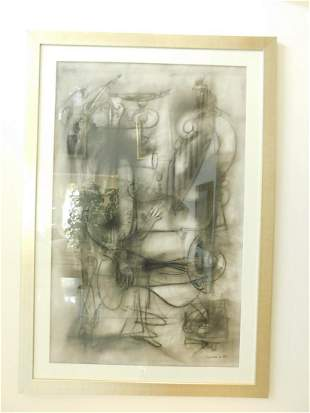 Framed Carreno Charcoal + Crayon on Paper