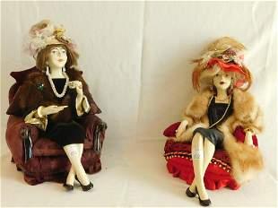Pair American Glaze Ceramic Figures
