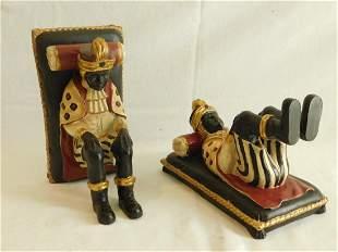 Pair Blackamoor Composition Figural Bookends