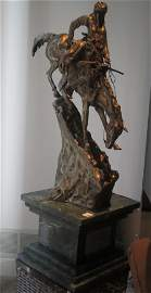 Frederic Remington Cast Silver Sculpture