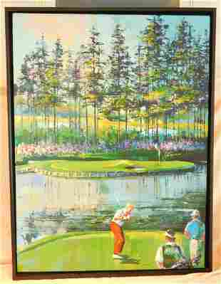 """Framed Farley """"Nicklaus"""" signed Oil on Canvas"""
