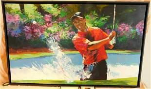 """Framed Farley """"Tiger Woods"""" signed oil on canvas"""