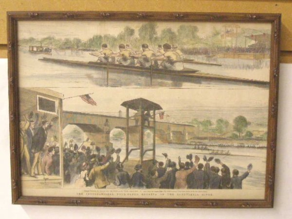 1014: 1870's Hand Colored Rowing Print