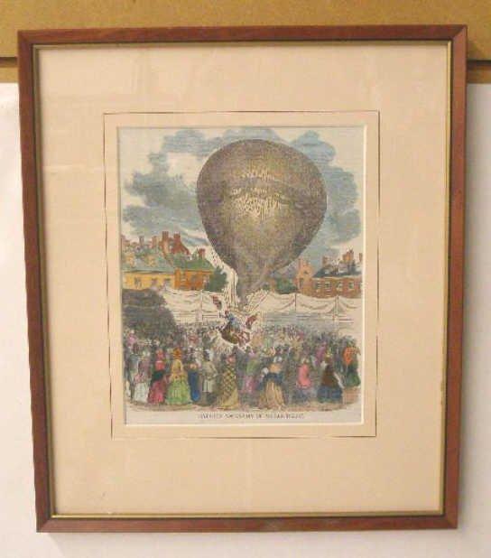 1015: 1851 Hand Colored Balloon Print