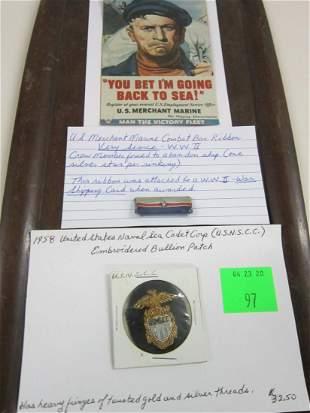 Rare Sea Cadet Patch & Merchant Marine Bar Ribbon