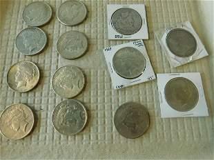 13 US Silver Peace Dollars