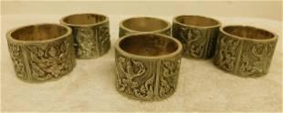 6 Siam Sterling Napkin Rings