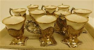 Set of 10 Sterling & Lenox Cups