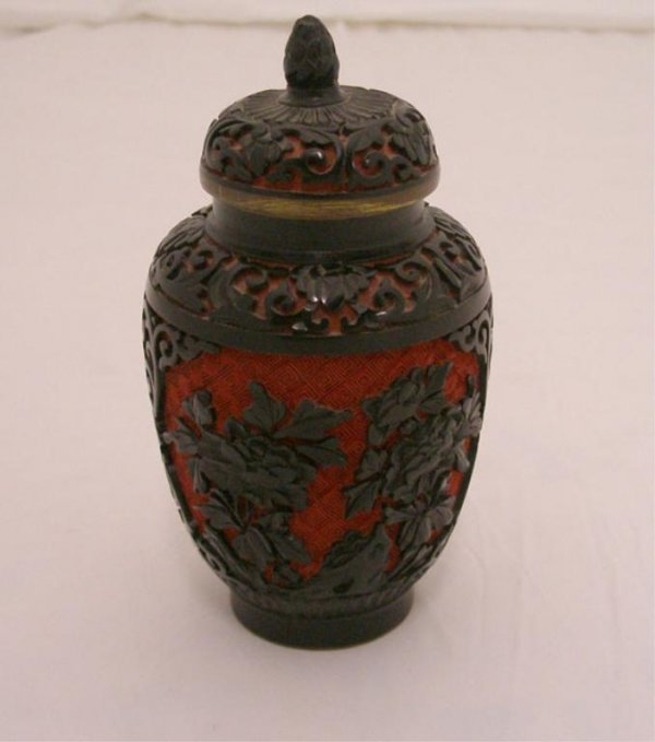 1000: Chinese Cinnabar & Black Lacquered Covered Jar