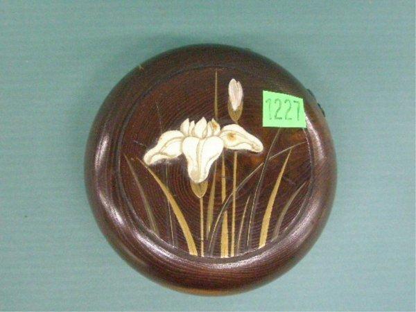 1003: Japanese Hardwood Carved Round Purse