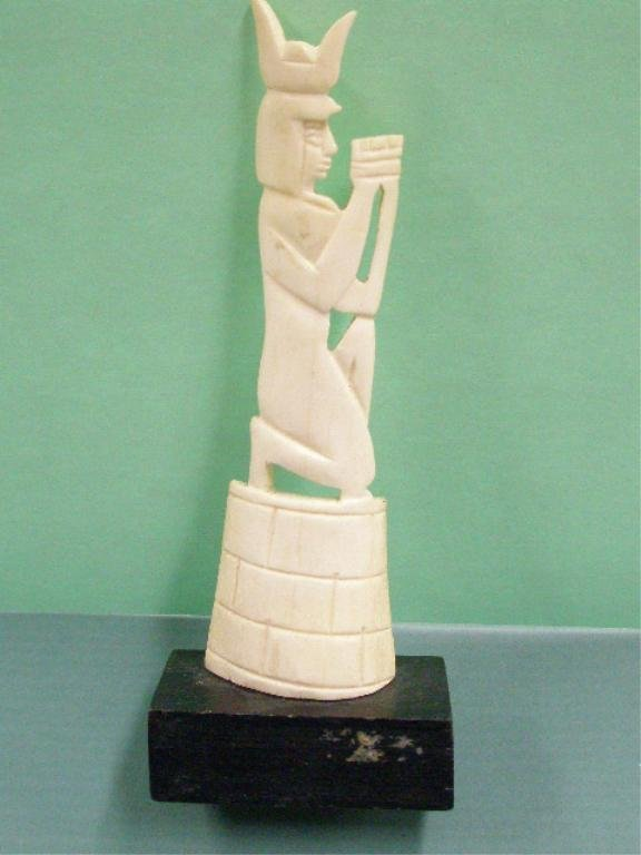 1007: Egyptian Bone Flat Carving of Kneeling Servant