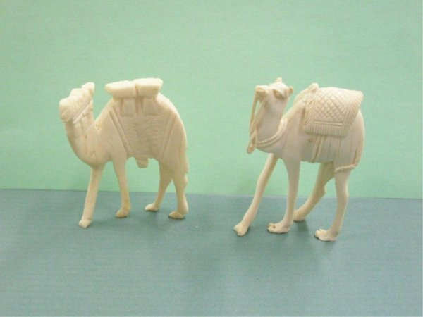 1010: Two Egyptian Carved Bone & Ivory Camels